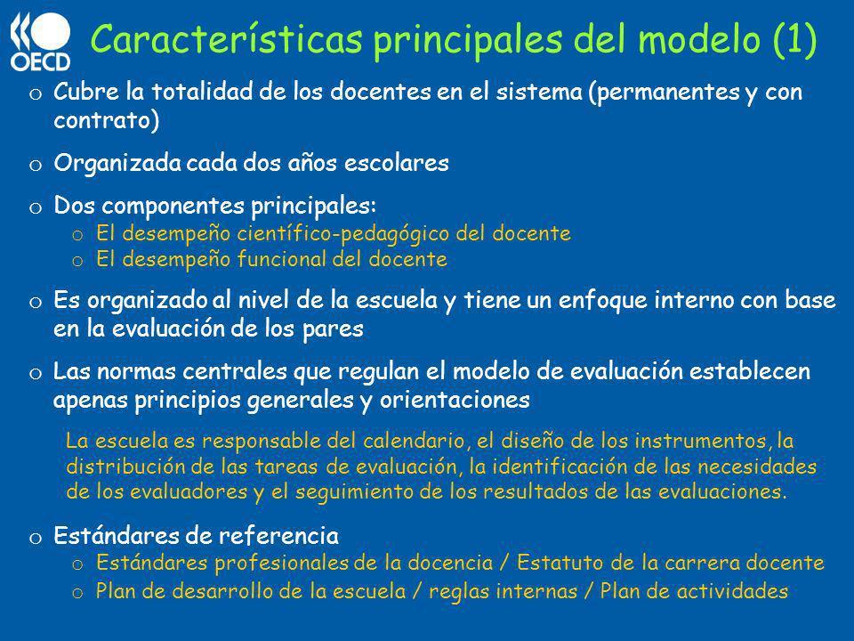 Características principales del modelo (1) o Cubre la totalidad de los docentes en el sistema (permanentes y con contrato) o Organizada cada dos años