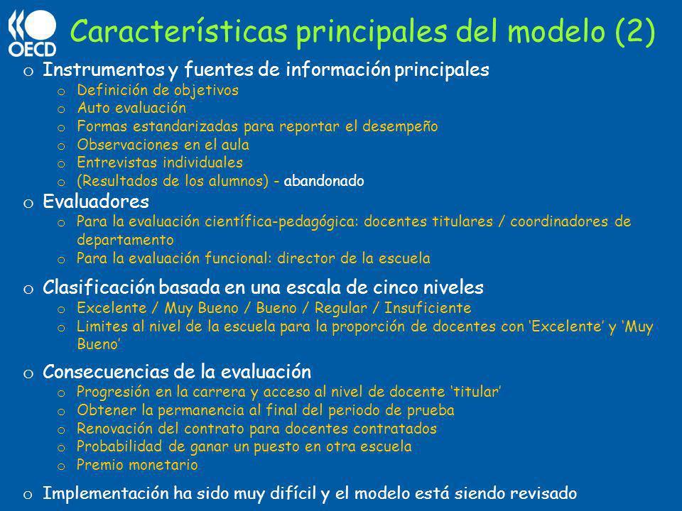 o Instrumentos y fuentes de información principales o Definición de objetivos o Auto evaluación o Formas estandarizadas para reportar el desempeño o O
