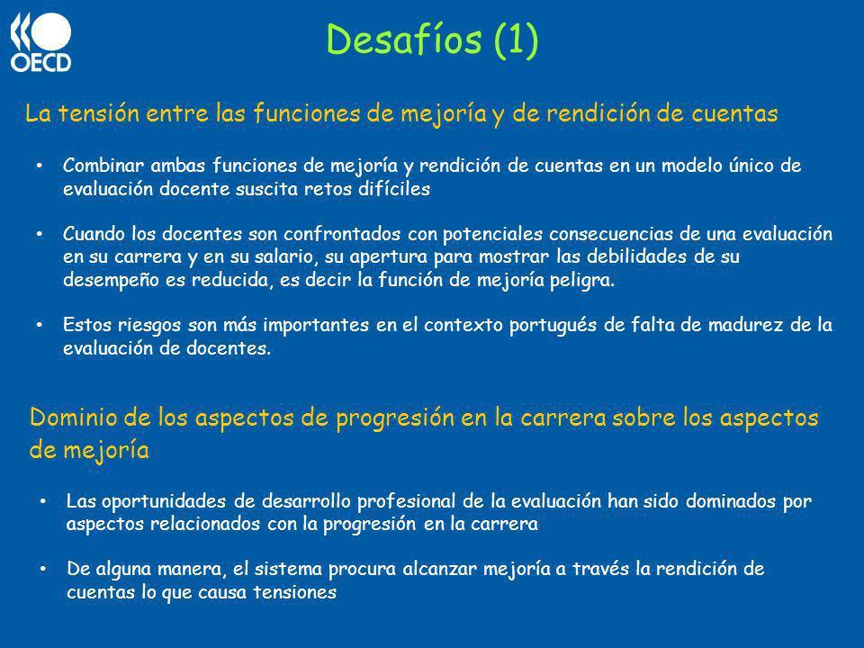 Desafíos (1) La tensión entre las funciones de mejoría y de rendición de cuentas Combinar ambas funciones de mejoría y rendición de cuentas en un mode