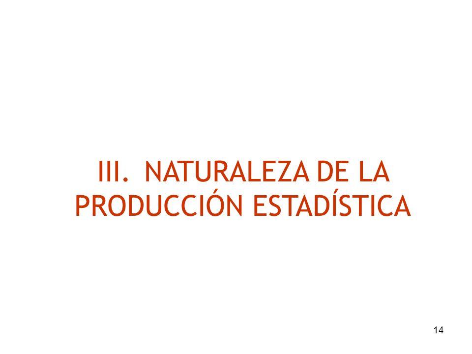 14 III.NATURALEZA DE LA PRODUCCIÓN ESTADÍSTICA