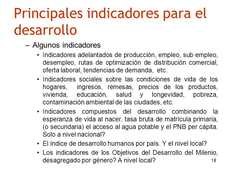 18 Principales indicadores para el desarrollo –Algunos indicadores Indicadores adelantados de producción, empleo, sub empleo, desempleo, rutas de opti