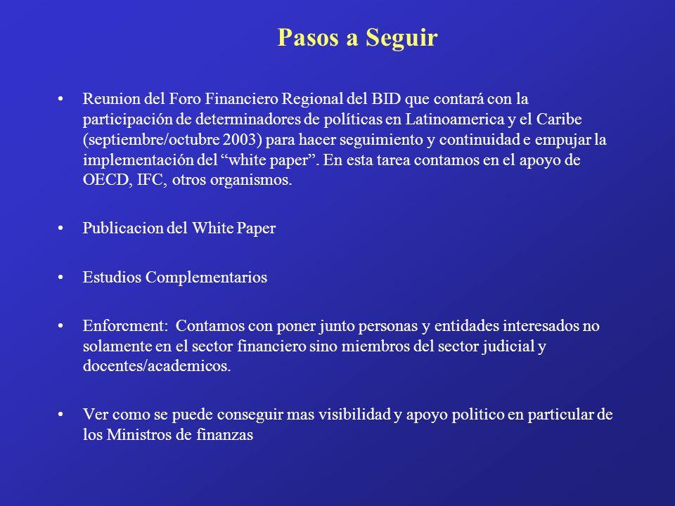 Reunion del Foro Financiero Regional del BID que contará con la participación de determinadores de políticas en Latinoamerica y el Caribe (septiembre/octubre 2003) para hacer seguimiento y continuidad e empujar la implementación del white paper.