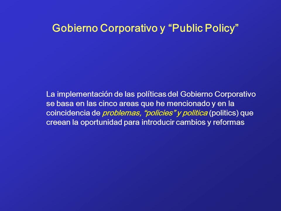 Gobierno Corporativo y Public Policy La implementación de las políticas del Gobierno Corporativo se basa en las cinco areas que he mencionado y en la coincidencia de problemas, policies y politica (politics) que creean la oportunidad para introducir cambios y reformas