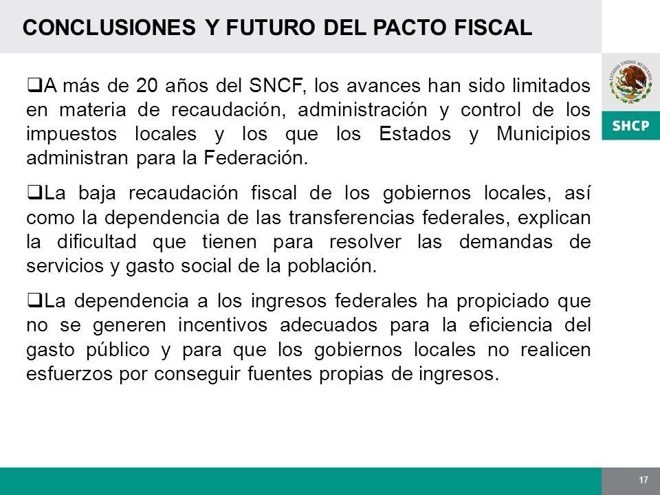 17 CONCLUSIONES Y FUTURO DEL PACTO FISCAL A más de 20 años del SNCF, los avances han sido limitados en materia de recaudación, administración y contro