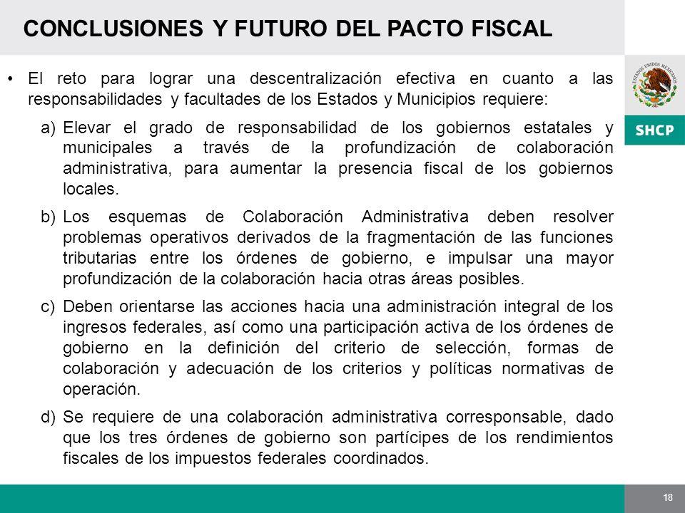 18 CONCLUSIONES Y FUTURO DEL PACTO FISCAL El reto para lograr una descentralización efectiva en cuanto a las responsabilidades y facultades de los Est