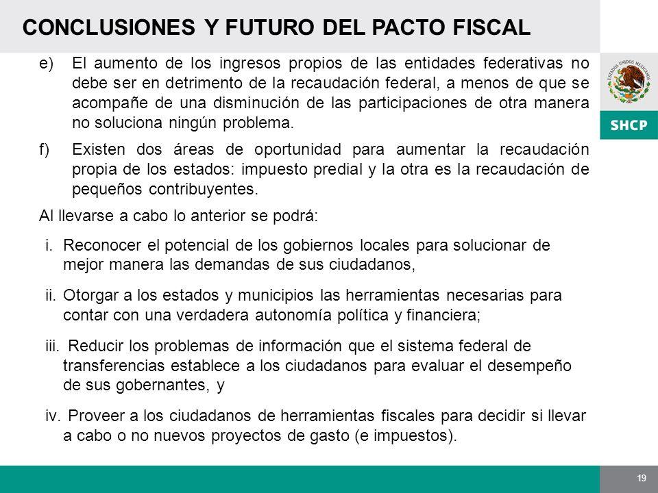 19 CONCLUSIONES Y FUTURO DEL PACTO FISCAL e)El aumento de los ingresos propios de las entidades federativas no debe ser en detrimento de la recaudació