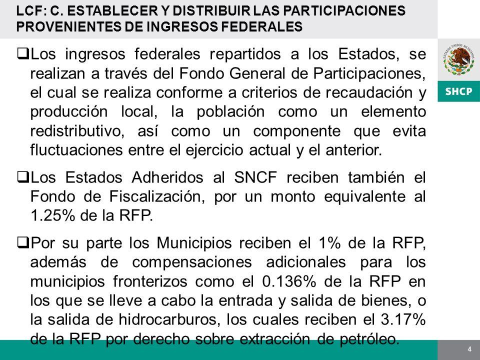 4 LCF: C. ESTABLECER Y DISTRIBUIR LAS PARTICIPACIONES PROVENIENTES DE INGRESOS FEDERALES Los ingresos federales repartidos a los Estados, se realizan