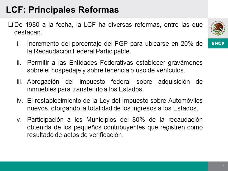 7 LCF: Principales Reformas De 1980 a la fecha, la LCF ha diversas reformas, entre las que destacan: i.Incremento del porcentaje del FGP para ubicarse