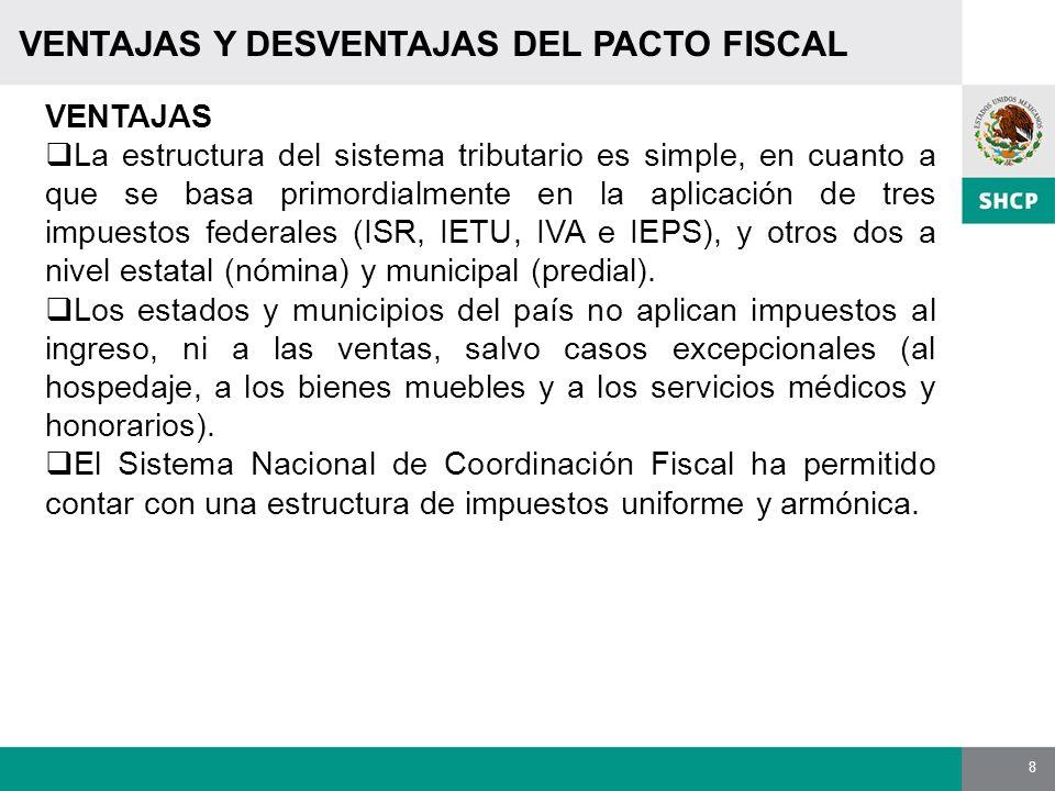 8 VENTAJAS Y DESVENTAJAS DEL PACTO FISCAL VENTAJAS La estructura del sistema tributario es simple, en cuanto a que se basa primordialmente en la aplic