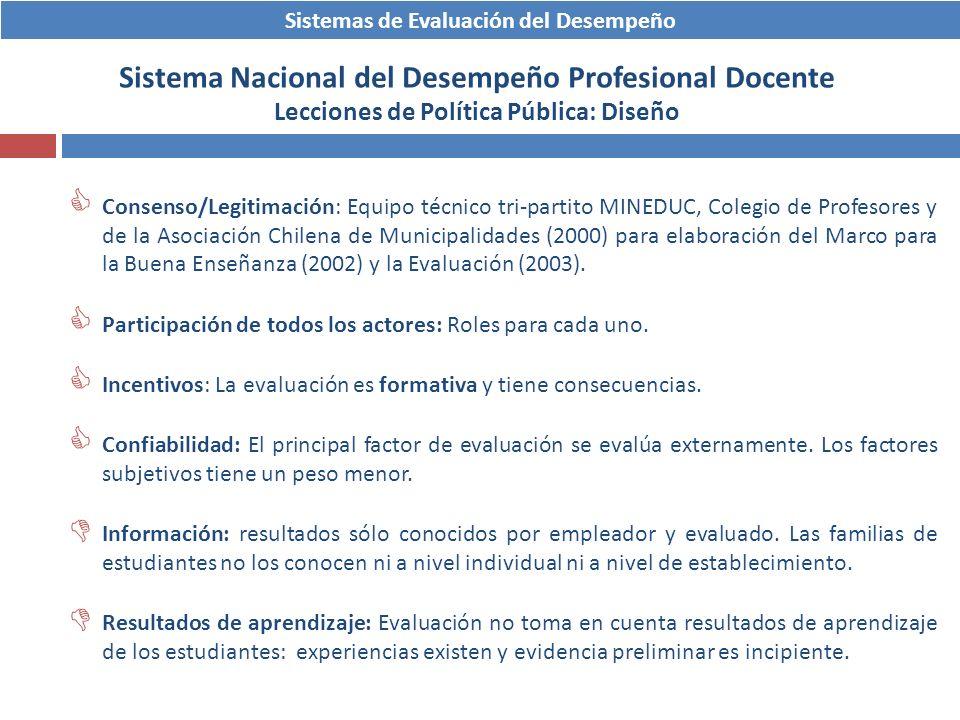 Sistemas de Evaluación del Desempeño Sistema Nacional del Desempeño Profesional Docente Lecciones de Política Pública: Diseño Consenso/Legitimación: E