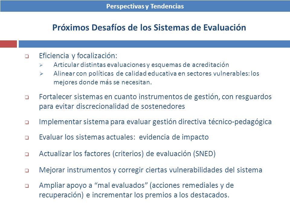 Eficiencia y focalización: Articular distintas evaluaciones y esquemas de acreditación Alinear con políticas de calidad educativa en sectores vulnerab