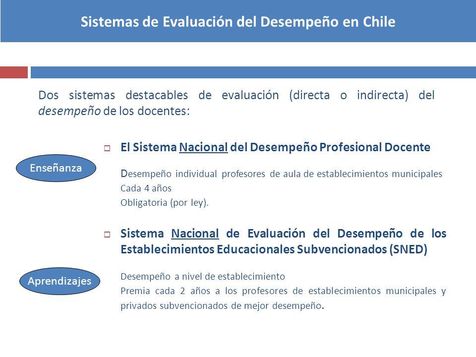 Sistemas de Evaluación del Desempeño en Chile Dos sistemas destacables de evaluación (directa o indirecta) del desempeño de los docentes: El Sistema N