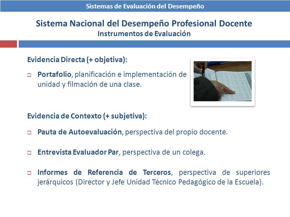 Sistemas de Evaluación del Desempeño Sistema Nacional del Desempeño Profesional Docente Instrumentos de Evaluación Evidencia Directa (+ objetiva): Por