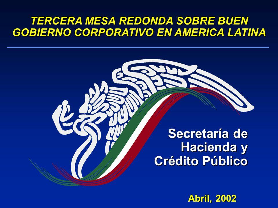 Abril, 2002 TERCERA MESA REDONDA SOBRE BUEN GOBIERNO CORPORATIVO EN AMERICA LATINA Secretaría de Hacienda y Crédito Público