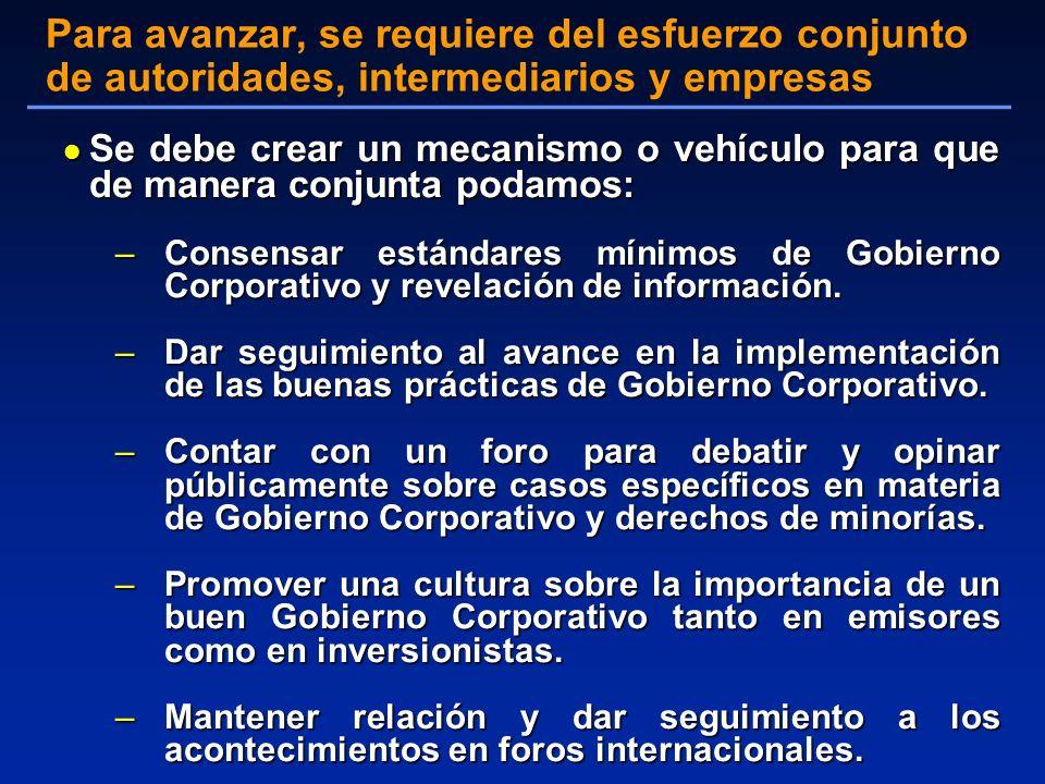 l Se debe crear un mecanismo o vehículo para que de manera conjunta podamos: –Consensar estándares mínimos de Gobierno Corporativo y revelación de información.