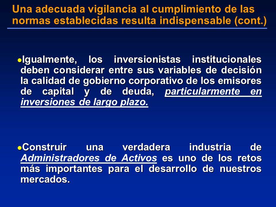 l Igualmente, los inversionistas institucionales deben considerar entre sus variables de decisión la calidad de gobierno corporativo de los emisores d