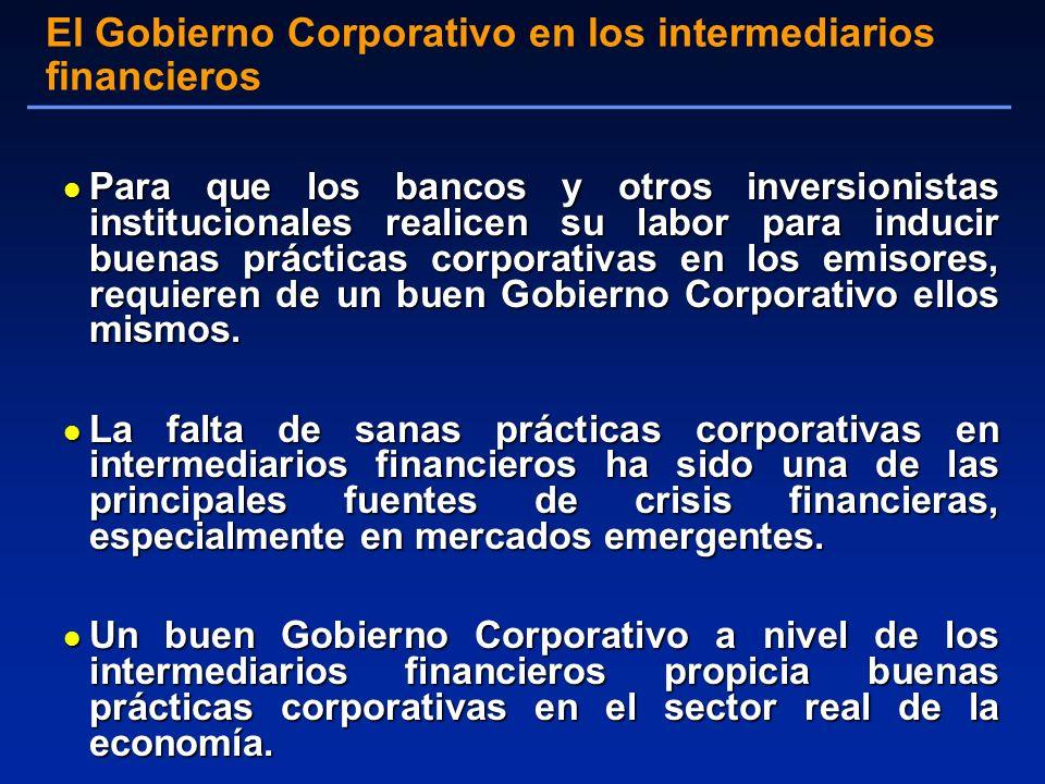 l Para que los bancos y otros inversionistas institucionales realicen su labor para inducir buenas prácticas corporativas en los emisores, requieren de un buen Gobierno Corporativo ellos mismos.