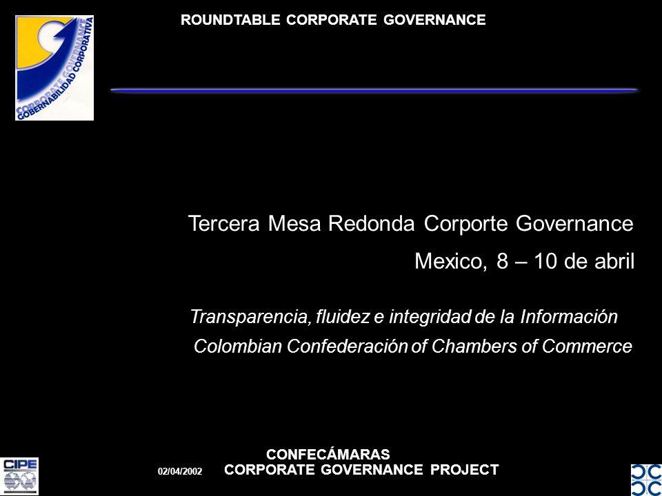ROUNDTABLE CORPORATE GOVERNANCE CONFECÁMARAS 02/04/2002 CORPORATE GOVERNANCE PROJECT Mexico, 8 – 10 de abril Tercera Mesa Redonda Corporte Governance Transparencia, fluidez e integridad de la Información Colombian Confederación of Chambers of Commerce