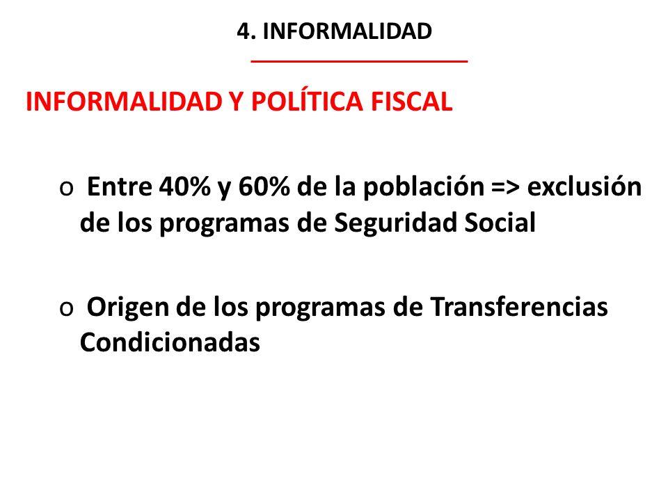 4. INFORMALIDAD INFORMALIDAD Y POLÍTICA FISCAL o Entre 40% y 60% de la población => exclusión de los programas de Seguridad Social o Origen de los pro