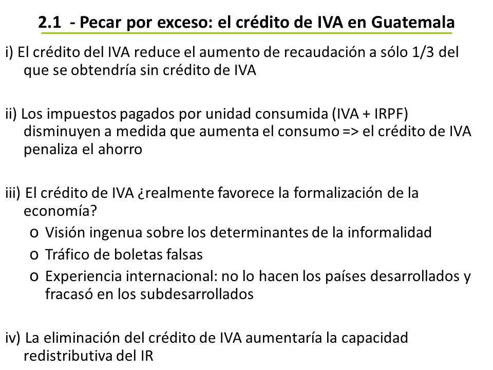 2.1 - Pecar por exceso: el crédito de IVA en Guatemala i) El crédito del IVA reduce el aumento de recaudación a sólo 1/3 del que se obtendría sin créd