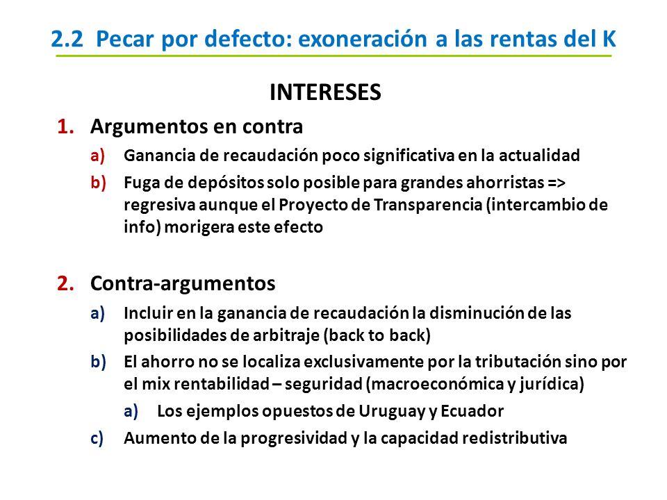 2.2 Pecar por defecto: exoneración a las rentas del K INTERESES 1.Argumentos en contra a)Ganancia de recaudación poco significativa en la actualidad b