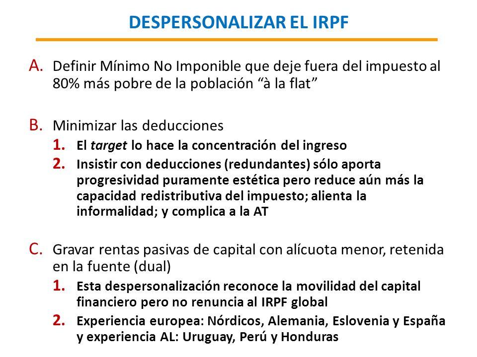 DESPERSONALIZAR EL IRPF A. Definir Mínimo No Imponible que deje fuera del impuesto al 80% más pobre de la población à la flat B. Minimizar las deducci