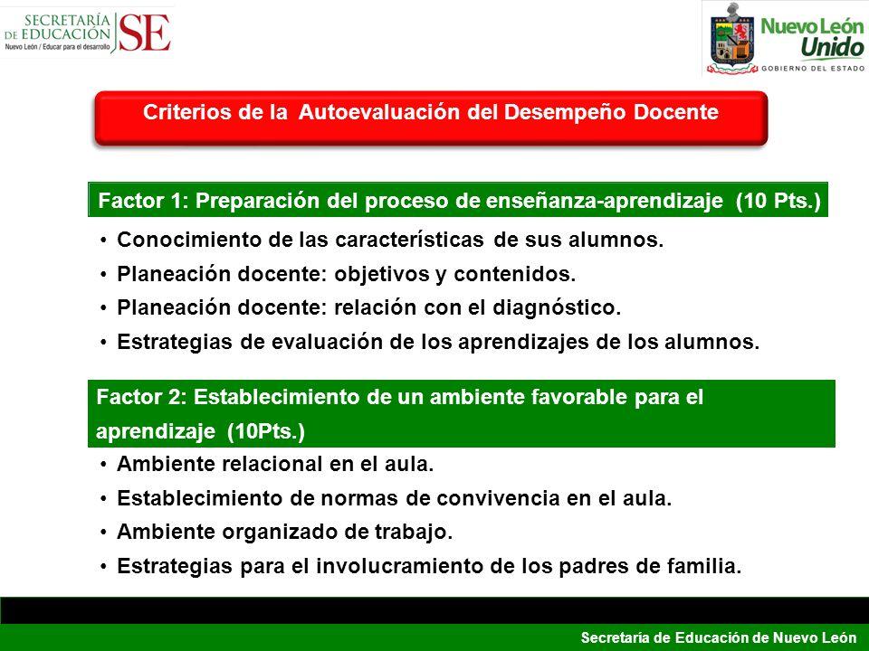 Secretaría de Educación de Nuevo León Conocimiento de las características de sus alumnos. Planeación docente: objetivos y contenidos. Planeación docen