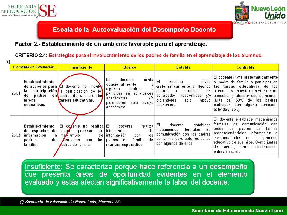 Secretaría de Educación de Nuevo León Insuficiente: Se caracteriza porque hace referencia a un desempeño que presenta áreas de oportunidad evidentes e