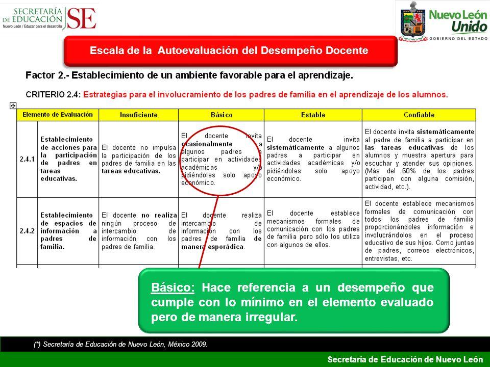 Secretaría de Educación de Nuevo León Básico: Hace referencia a un desempeño que cumple con lo mínimo en el elemento evaluado pero de manera irregular