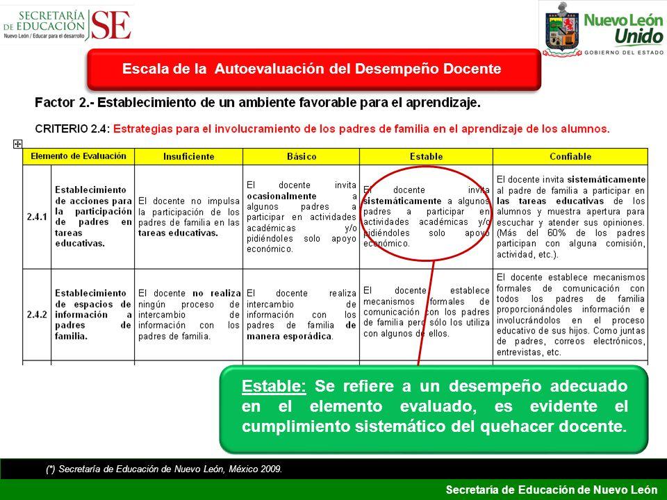 Secretaría de Educación de Nuevo León Estable: Se refiere a un desempeño adecuado en el elemento evaluado, es evidente el cumplimiento sistemático del