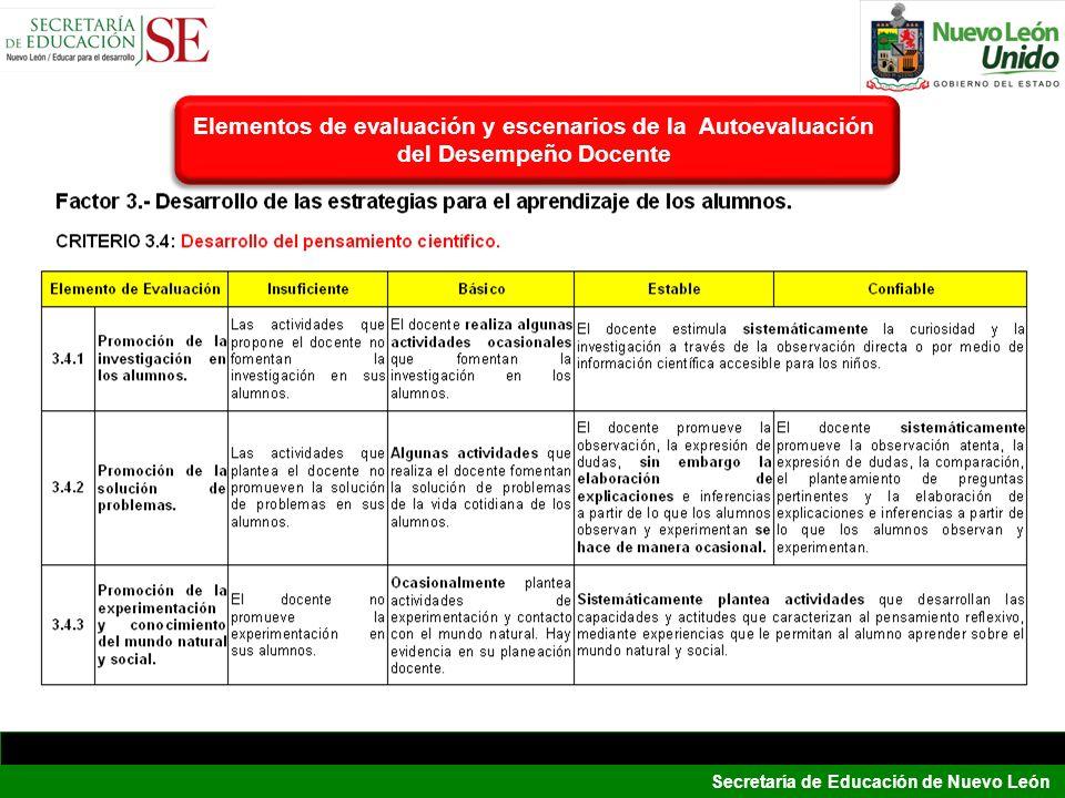 Secretaría de Educación de Nuevo León Elementos de evaluación y escenarios de la Autoevaluación del Desempeño Docente