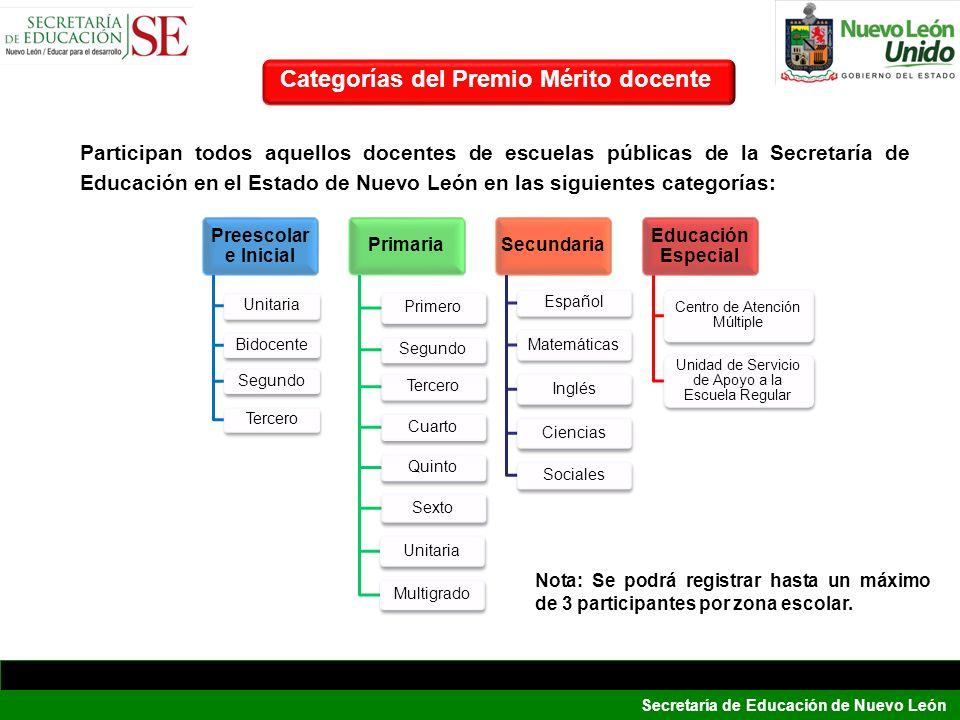 Secretaría de Educación de Nuevo León Categorías del Premio Mérito docente Participan todos aquellos docentes de escuelas públicas de la Secretaría de