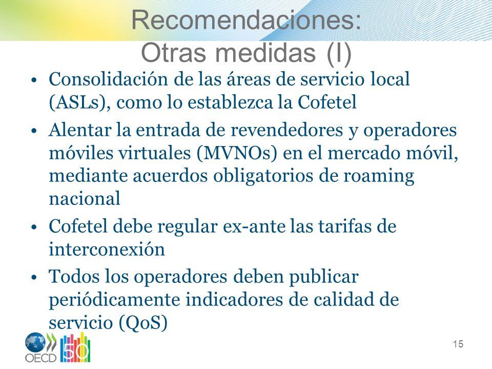 Recomendaciones: Otras medidas (I) Consolidación de las áreas de servicio local (ASLs), como lo establezca la Cofetel Alentar la entrada de revendedor