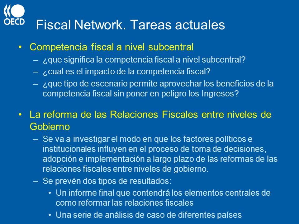 Fiscal Network. Tareas actuales Competencia fiscal a nivel subcentral –¿que significa la competencia fiscal a nivel subcentral? –¿cual es el impacto d