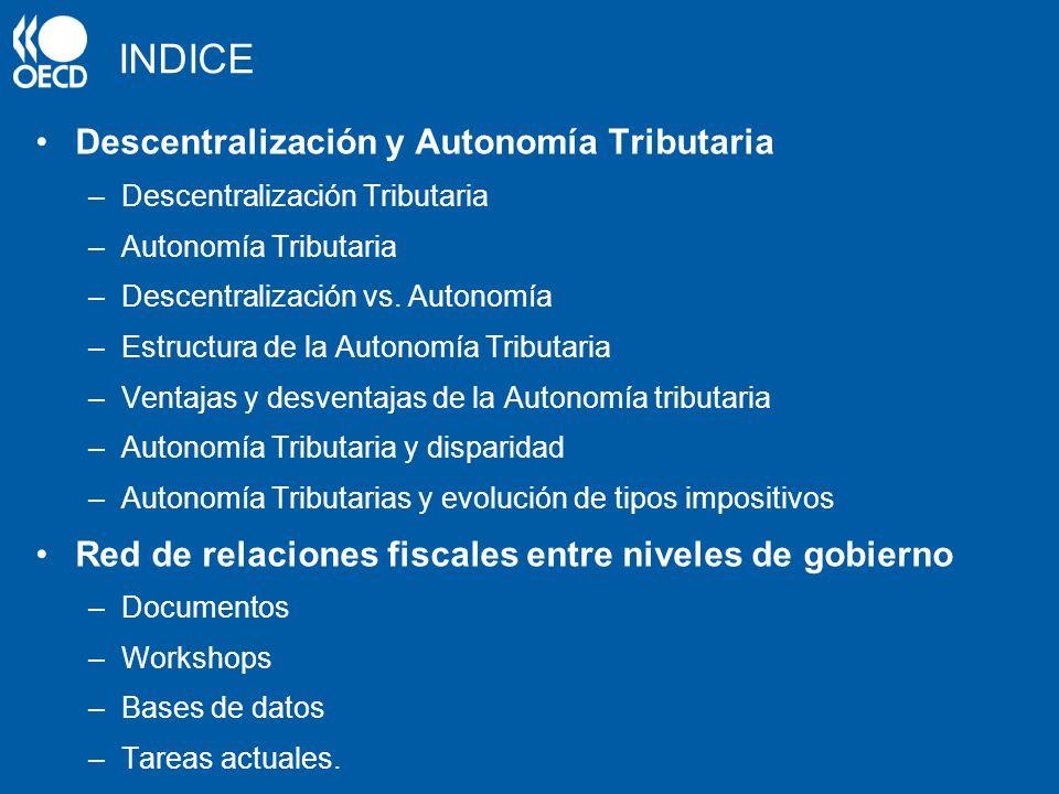 INDICE Descentralización y Autonomía Tributaria –Descentralización Tributaria –Autonomía Tributaria –Descentralización vs. Autonomía –Estructura de la