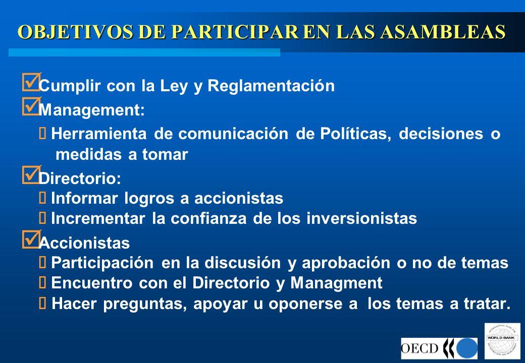 OBJETIVOS DE PARTICIPAR EN LAS ASAMBLEAS Cumplir con la Ley y Reglamentación Management: Herramienta de comunicación de Políticas, decisiones o medida