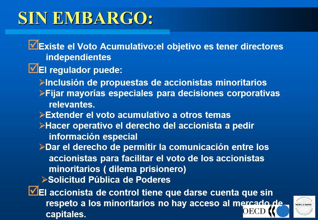 SIN EMBARGO: Existe el Voto Acumulativo:el objetivo es tener directores independientes El regulador puede: Inclusión de propuestas de accionistas mino