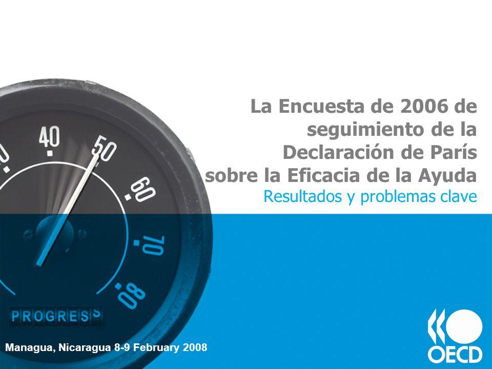 La Encuesta de 2006 de seguimiento de la Declaración de París sobre la Eficacia de la Ayuda Resultados y problemas clave Managua, Nicaragua 8-9 Februa