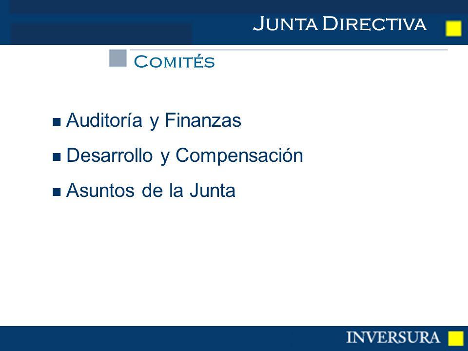 Auditoría y Finanzas Desarrollo y Compensación Asuntos de la Junta Junta Directiva Comités
