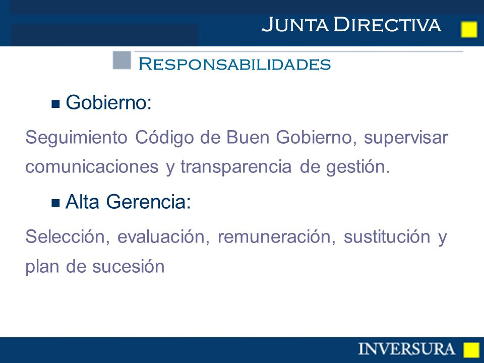 Gobierno: Seguimiento Código de Buen Gobierno, supervisar comunicaciones y transparencia de gestión.