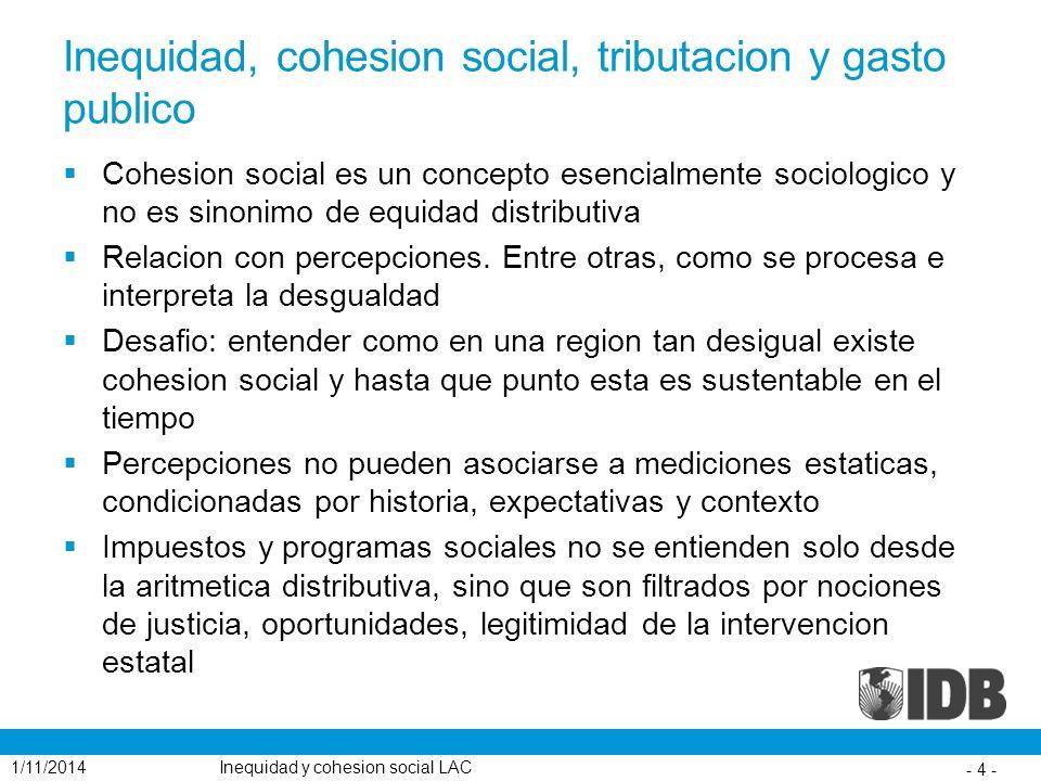 Inequidad, cohesion social, tributacion y gasto publico Cohesion social es un concepto esencialmente sociologico y no es sinonimo de equidad distribut