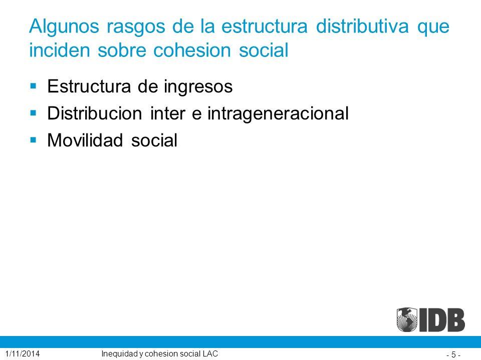 Algunos rasgos de la estructura distributiva que inciden sobre cohesion social Estructura de ingresos Distribucion inter e intrageneracional Movilidad