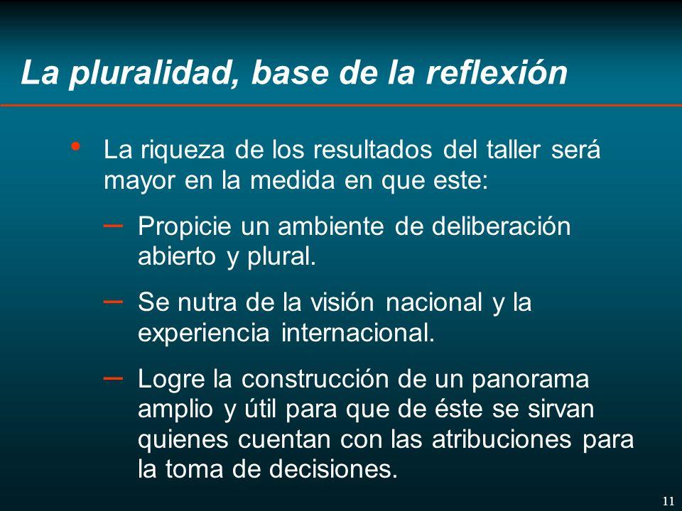 11 La pluralidad, base de la reflexión La riqueza de los resultados del taller será mayor en la medida en que este: – Propicie un ambiente de deliberación abierto y plural.
