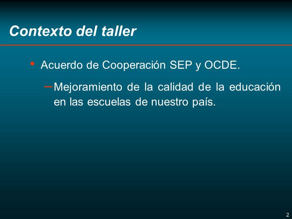 3 Contexto del taller Apoyo a la Alianza por la Calidad de la Educación.