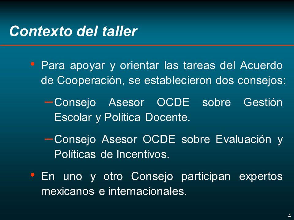 4 Contexto del taller Para apoyar y orientar las tareas del Acuerdo de Cooperación, se establecieron dos consejos: – Consejo Asesor OCDE sobre Gestión Escolar y Política Docente.