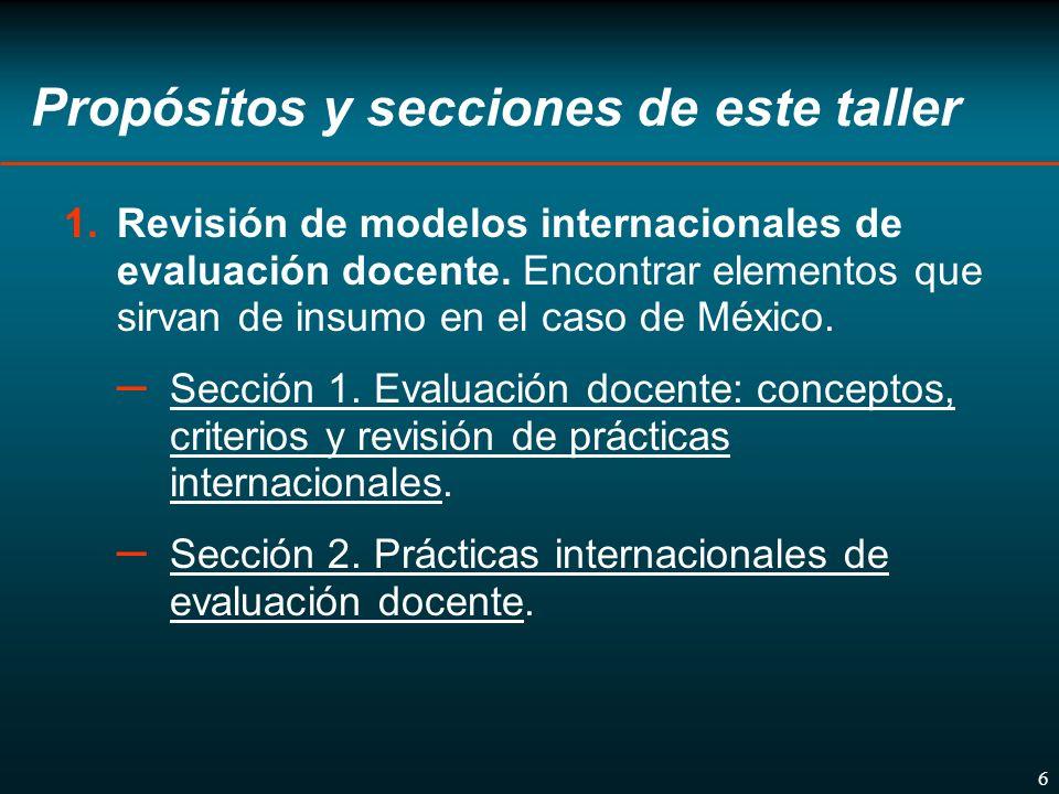 6 Propósitos y secciones de este taller 1.Revisión de modelos internacionales de evaluación docente.
