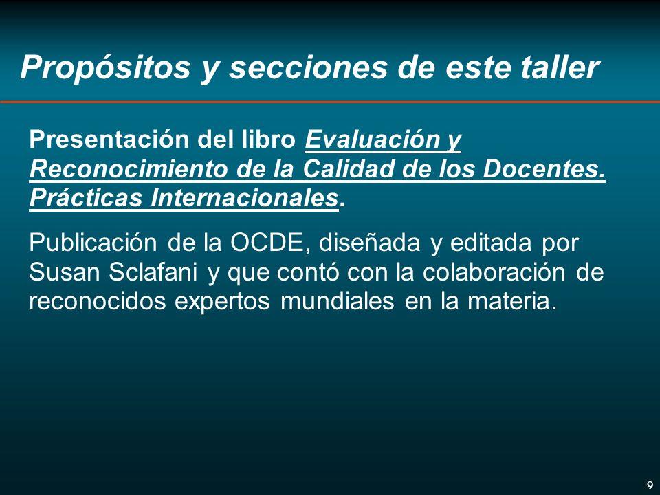 9 Propósitos y secciones de este taller Presentación del libro Evaluación y Reconocimiento de la Calidad de los Docentes.