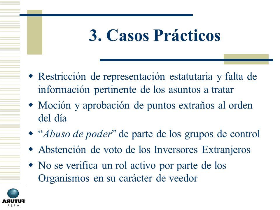 3. Casos Prácticos Restricción de representación estatutaria y falta de información pertinente de los asuntos a tratar Moción y aprobación de puntos e