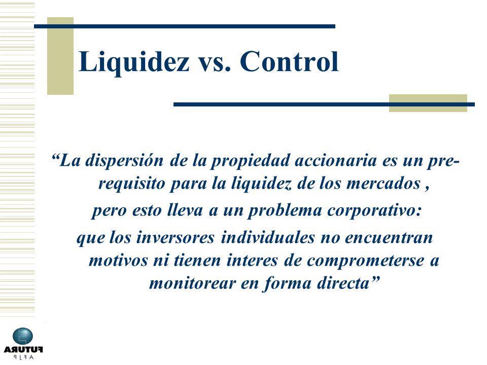 Liquidez vs. Control La dispersión de la propiedad accionaria es un pre- requisito para la liquidez de los mercados, pero esto lleva a un problema cor