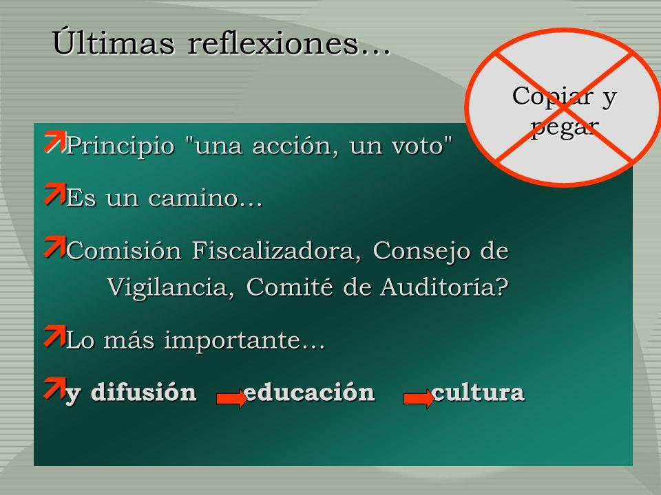 Últimas reflexiones… Principio una acción, un voto Principio una acción, un voto Es un camino… Es un camino… Comisión Fiscalizadora, Consejo de Vigilancia, Comité de Auditoría.